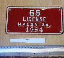 Vintage USA Macon GA 1984 tag Licence/License Plate 65