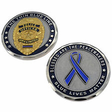 Thin Blue Line Challenge Coin Police Officer Badge Shield  Blue Lives Matter