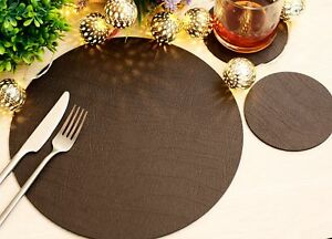 Set of 4 Classic Brown Leatherboard Round Placemats and 4 Coasters - UK Made
