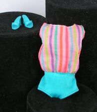 Barbie Aqua Striped swimsuit REPRODUCTION Vintage Repro Doll Clothes Shoes heels