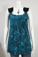 Simply Vera Wang Misses XS Teal Green Tie Dye Beaded Shoulder Tank Blouse Shirt