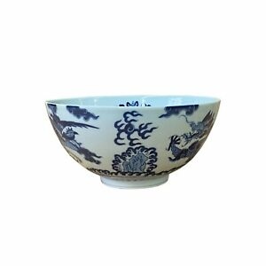 Chinese Blue & White Porcelain Hand Painted Dragon Phoenix Bowl ws1535