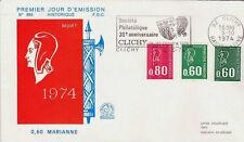 FRANCE FDC - 899 - 900 1814 1815 1816 1 MARIANNE de BEQUET flamme 5 10 1974