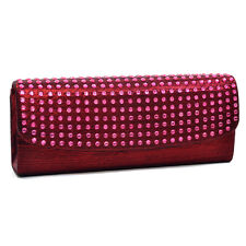 Dasein Women Evening Wedding Bag Flap Over Clutch with Dot Studs Chain Red