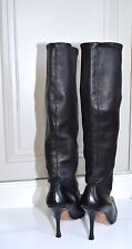 Manolo Blahnik black leather pointed toe pull on knee-high boots EU 36.5/ UK 3.5