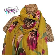 Thistle Print Scarf Deep Mustard with Green Pink & Brown Thistles Superb Quality