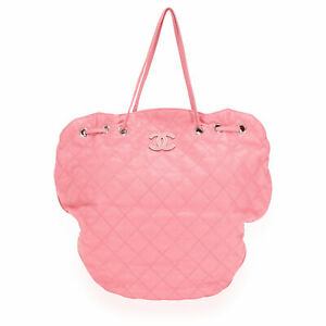 Chanel Pink Quilted Caviar Leather Cocomark Drawstring Tote