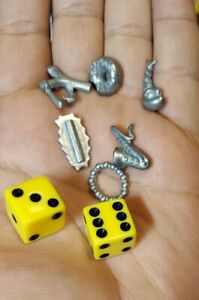 Clue Pewter Game 5 Pieces Simpsons Replacement Tokens Poisoned Donut & Dice C152