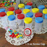 20 Pill Bottles Red Blue Yellow Caps Lids 1.5oz Party Candy Jars  3814 DecoJars