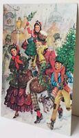 CHRISTMAS Scrooge Bob Cratchit Old Time Metallic Finish Postcard E10