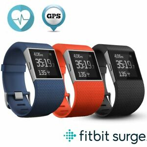 Fitbit Surge Fitness Super Watch With Heart Rate Monitor Black,Blue,Tangerine- L
