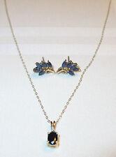 14K GOLD SAPPHIRE & DIAMOND CHARM NECKLACE + 14K GOLD & SAPPHIRE EARRINGS