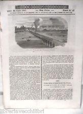 ANTICA STAMPA INCISIONE 1844 Ferrovia da Padova a Venezia Telescopio Lord Rosse