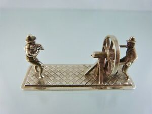 MINIATURE DUTCH .835 SILVER ROPE MAKERS FIGURE BY PH  as is