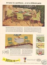 1950s vintage DAYSTROM Furniture DINETTE SET Green Chrome RETRO Chair Table AD