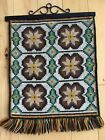 VINTAGE EXCELLENT LARGE NORWEGIAN HANDMADE WOOL TAPESTRY WITH IRON HANGER NORWAY