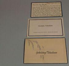 3 ältere beschriebene Trauerkarten aus dem Jahr 1959 , Buchau a. Federsee /S156