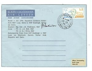 1975 MALTA FORM BLANK AEROGRAMME USED BY RAF FLIGHT TO KENYA FLOWN BS ONLY 57