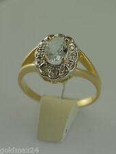 Ring m. Topas und Diamanten / bicolor / 585er 14 Karat Gold