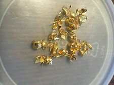 Vintage M. Haskell Gold Vein Texture Multi Petal Open Cupped Bead Cap Drop Lot