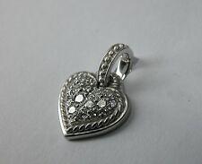 JUDITH RIPKA 18K WHITE GOLD PAVE DIAMOND HEART PENDANT ENHANCER