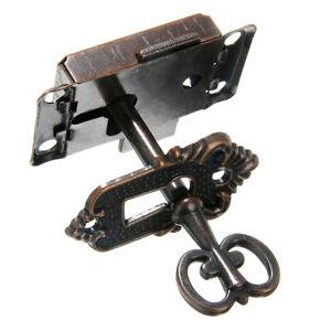 1 Set Antique Cabinet Door Lock Set Key Clock China Jewlery Replacement US