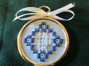 Hardanger in a Gold Ring Norwegian Blue  Embroidery Cut Work