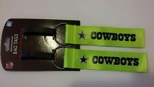 Dallas Cowboys Football NFL Team 2 Pack NEON Bag Tags Luggage Backpack Spotter