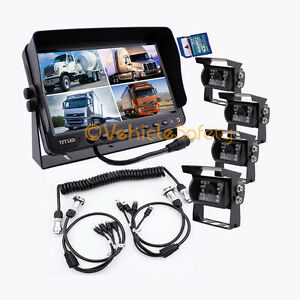 """The 5th Wheel Camera System 9"""" Monitor with DVR + 4x Cameras + 4AV Trailer Cable"""