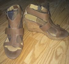 NINE WEST ENTIREO Cork Wedge Sandals Ankle Straps Brown Tan  Sz 9 LOW PRICE