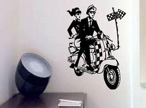 Ska style mod Scooter  Lounge shop cafe Vinyl wall art Decal Sticker