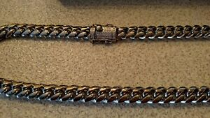 Men's Stainless Steel Cuban link cubic zirconia latch- New