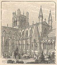 A6159 Chester - Cattedrale - Stampa Antica del 1925 - Incisione