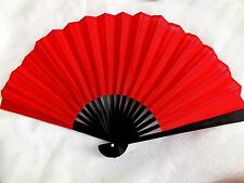JAPANESE RED BLACK GEISHA HAND FAN FANCY DANCE WEDDING HEN PROM CHINESE PARTY