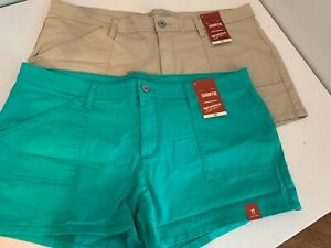 2 pair of Arizona Shortie Shorts Stretch Flat Front Khaki & Green 17  NEW  A