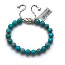 New DAVID YURMAN 8mm Spiritual Bead Adjustable Bracelet Chinese Turquoise NWT