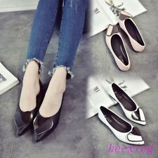 New Womens Pointy Toe Single Shoes Heart Metal decor Loafers Slip Ons Pumps Flat