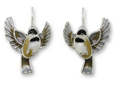 Zarah Zarlite Flying CHICKADEE EARRINGS Sterling Silver Plated Bird - Gift Boxed