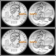 2x CANADA 2007 CANADIAN WINTER OLYMPIC WHEELCHAIR CURLING 25 CENT COIN LOT