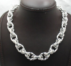Bold Shiny Twisted Oval Chain Link Necklace Real 925 Sterling Silver 60 grams!