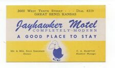 1950s Business Card for the Jayhawker Motel Great Bend Kansas