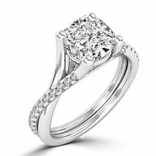 Natural 14K White Gold Enhanced Cushion Diamond Engagement Ring 0.90 CT H/SI2