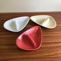 3 Boomerang Hard Plastic Melmac Anholt Ashtrays Mid Century MCM Vintage