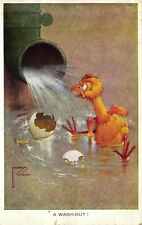 Comic Postcard 1935 Duckling Egg 'A Wash Out' Lawson Wood Artist Signed