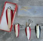 LOT OF 4 DAREDEVIL FISHING SPOONS FROM VINTAGE TACKLE BOX ONE W/BOX