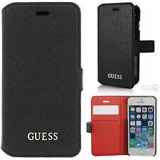 GUESS Book Case iPhone SE, 5 ,5s Handy Cover Schutz Hülle Tasche Motiv schwarz