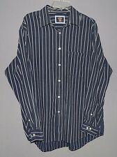 Men's Arrow-LS Button Dress Shirt-L-Large-Navy Blue W/White Stripes