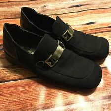 Donald J Pliner Black Suede Loafer Slip On Shoes Made in Italy 9.5 M Buckle