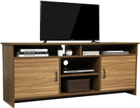 Living Room Farmhouse TV Console Table Wood TV Stand with Door& Storage Shelves