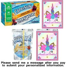 12 Unicorn Birthday Party Capri Sun Stickers Labels Rainbow Baby Shower Face